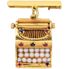 Vintage Seed Pearl Ruby Sapphire Gold Typewriter Brooch Charm