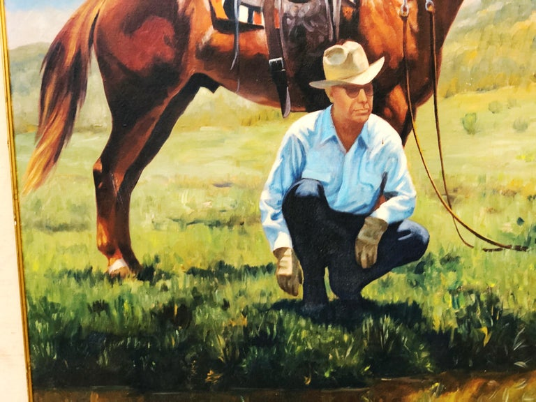 This vintage portrait-landscape painting by Harold Gore is in overall good condition. Some loss of finish on frame and mild discoloration of mat as seen in photos. Bandera, Texas. 1962 Dimensions: 36