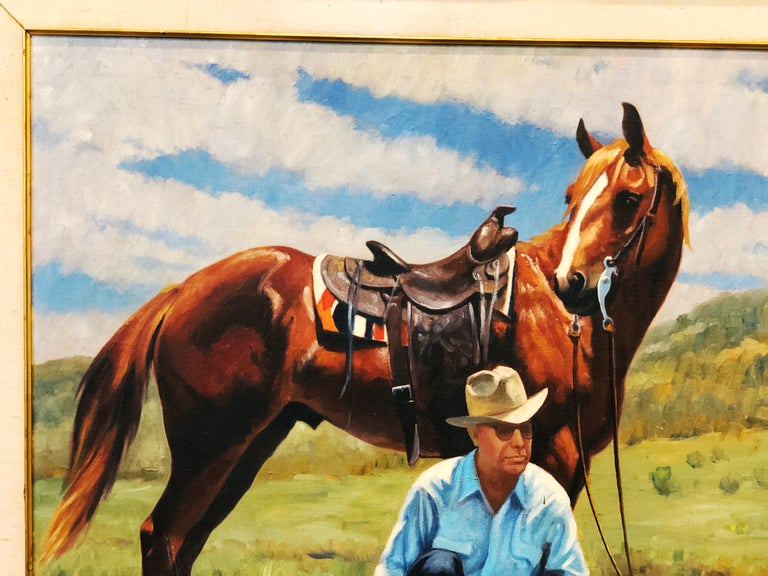American Vintage Portrait-Landscape Painting by Harold Gore, Texas, 1962 For Sale