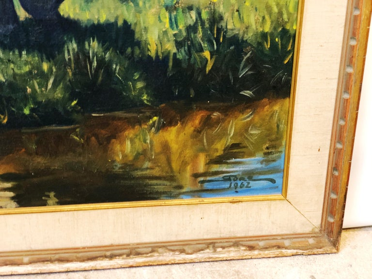 Vintage Portrait-Landscape Painting by Harold Gore, Texas, 1962 In Good Condition For Sale In San Antonio, TX