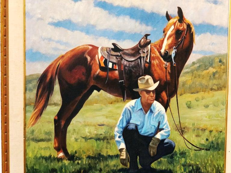 Vintage Portrait-Landscape Painting by Harold Gore, Texas, 1962 For Sale 1