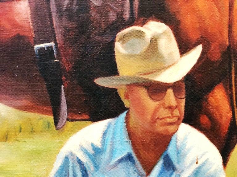 Vintage Portrait-Landscape Painting by Harold Gore, Texas, 1962 For Sale 2
