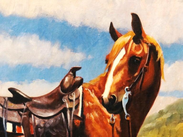 Vintage Portrait-Landscape Painting by Harold Gore, Texas, 1962 For Sale 3