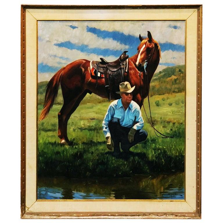 Vintage Portrait-Landscape Painting by Harold Gore, Texas, 1962 For Sale