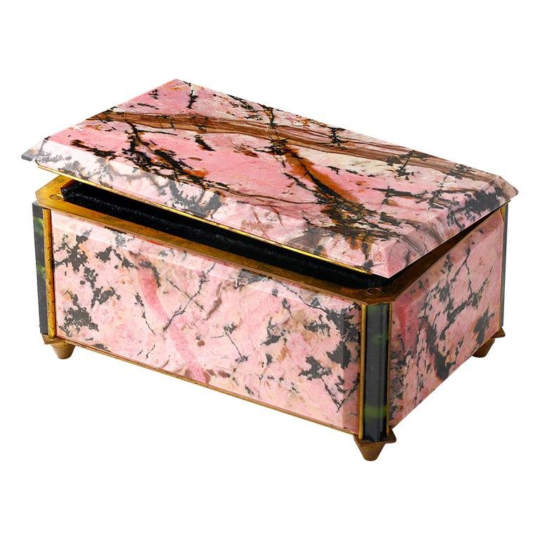 Vintage Semi Precious Stone Casket Box For Sale