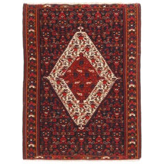 Vintage Senneh Transitional Red and Beige Wool Persian Kilim