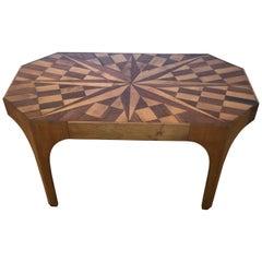 Vintage Sensational Starburst Mixed Wood Inlaid Coffee Table