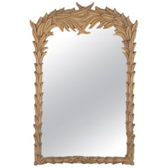 Vintage Serge Roche Style Carved Leaves Mirror
