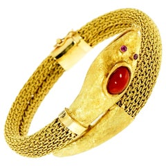 Vintage Serpenti Yellow Gold Mesh Bracelet