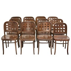 Vintage Set 12 Brown Bentwood Dining Chairs in the Style of Josef Hoffmann 1990s