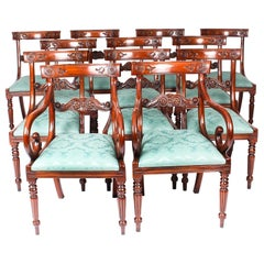 Vintage Set of 12 Mahogany Regency Revival Bar Back Dining Chairs, 20th Century