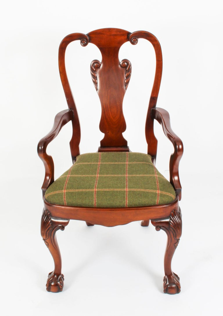 Vintage Set 12 Queen Anne Revival Mahogany Dining Chairs, Mid 20th Century For Sale 9