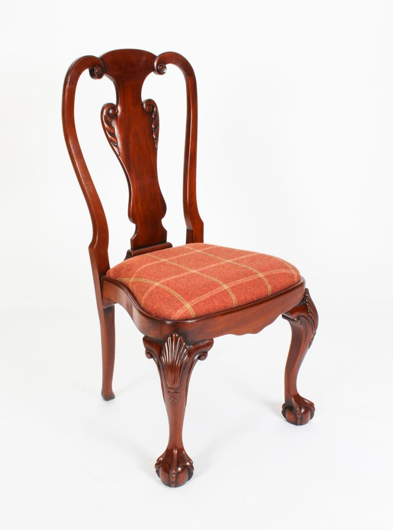 Vintage Set 12 Queen Anne Revival Mahogany Dining Chairs, Mid 20th Century For Sale 10