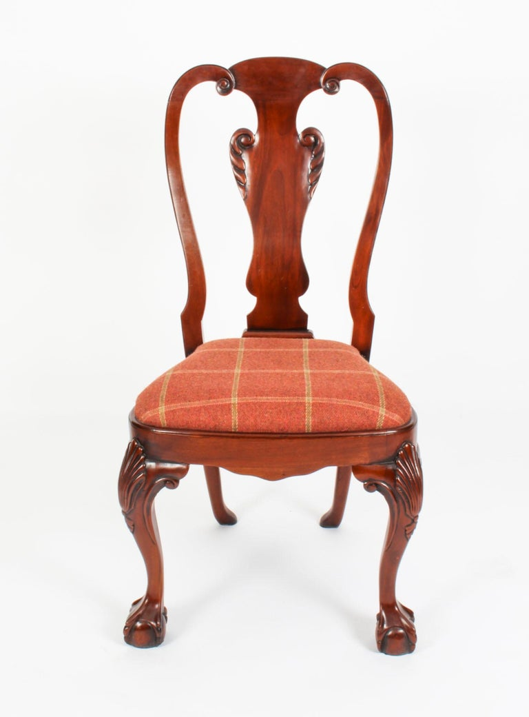 Vintage Set 12 Queen Anne Revival Mahogany Dining Chairs, Mid 20th Century For Sale 11