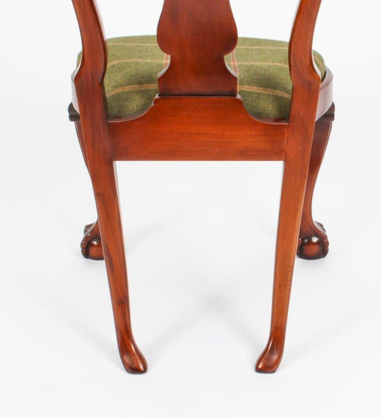 Vintage Set 12 Queen Anne Revival Mahogany Dining Chairs, Mid 20th Century For Sale 12