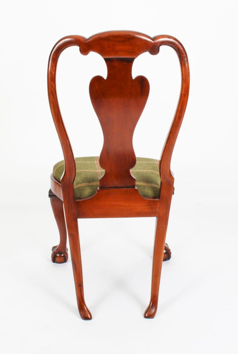 Vintage Set 12 Queen Anne Revival Mahogany Dining Chairs, Mid 20th Century For Sale 13