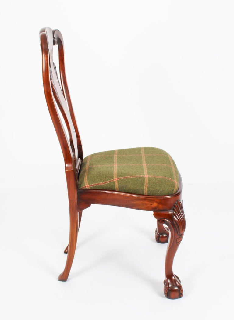 Vintage Set 12 Queen Anne Revival Mahogany Dining Chairs, Mid 20th Century For Sale 14