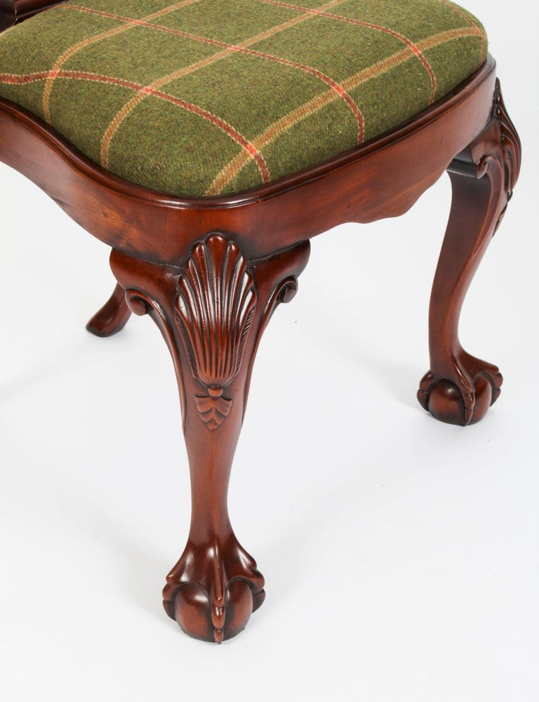 Vintage Set 12 Queen Anne Revival Mahogany Dining Chairs, Mid 20th Century For Sale 15