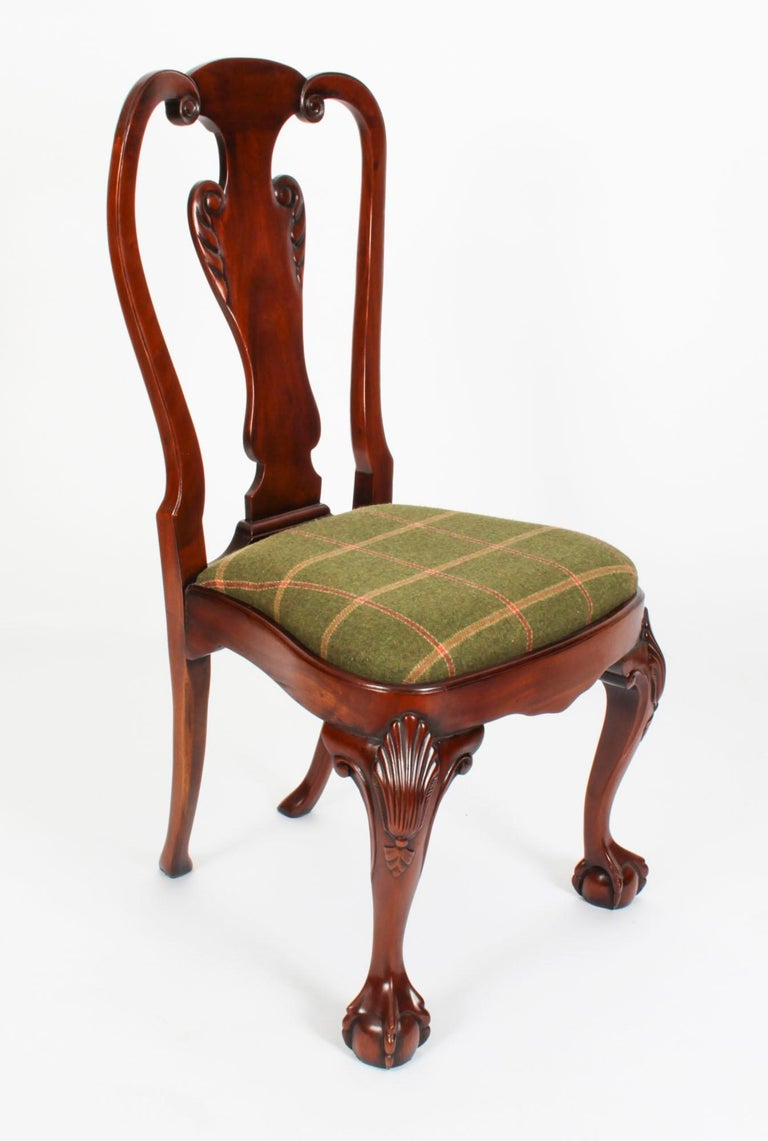 Vintage Set 12 Queen Anne Revival Mahogany Dining Chairs, Mid 20th Century For Sale 16