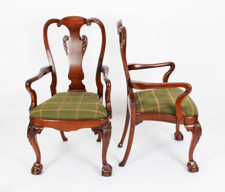 Vintage Set 12 Queen Anne Revival Mahogany Dining Chairs, Mid 20th Century For Sale 1