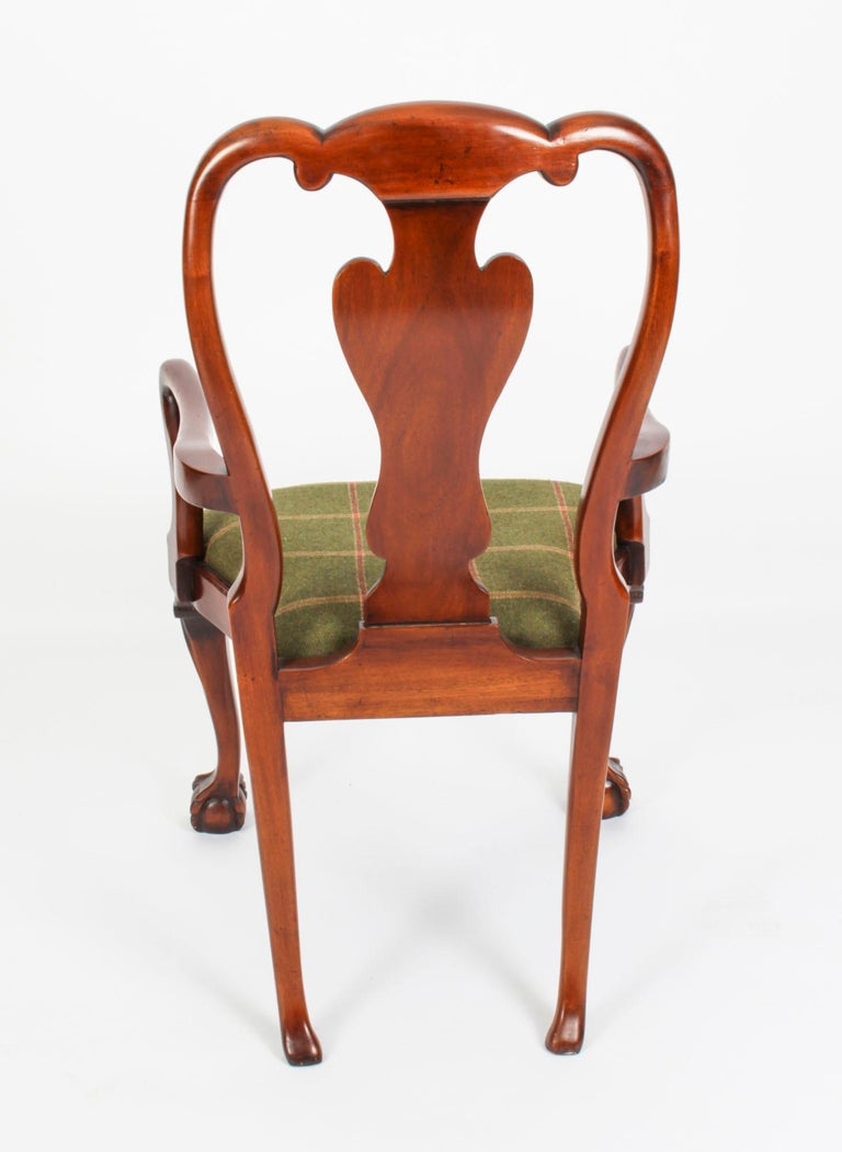 Vintage Set 12 Queen Anne Revival Mahogany Dining Chairs, Mid 20th Century For Sale 2