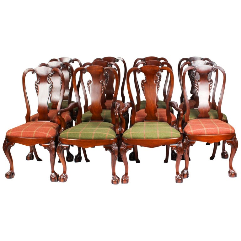 Vintage Set 12 Queen Anne Revival Mahogany Dining Chairs, Mid 20th Century For Sale