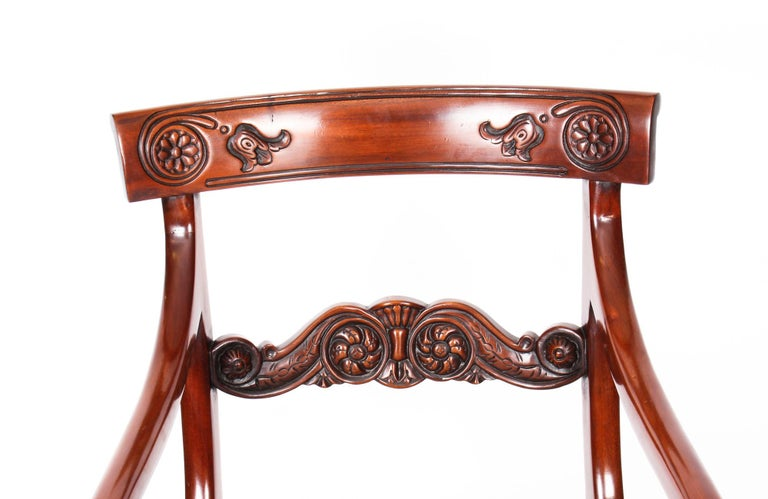 Vintage Set 14 Mahogany Regency Revival Bar Back Dining Chairs 20th C For Sale 6