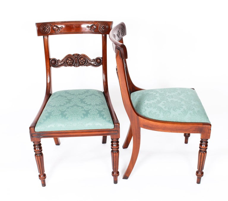 Vintage Set 14 Mahogany Regency Revival Bar Back Dining Chairs 20th C For Sale 8
