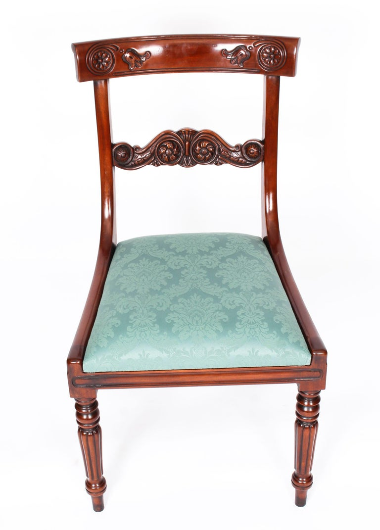 Vintage Set 14 Mahogany Regency Revival Bar Back Dining Chairs 20th C For Sale 9