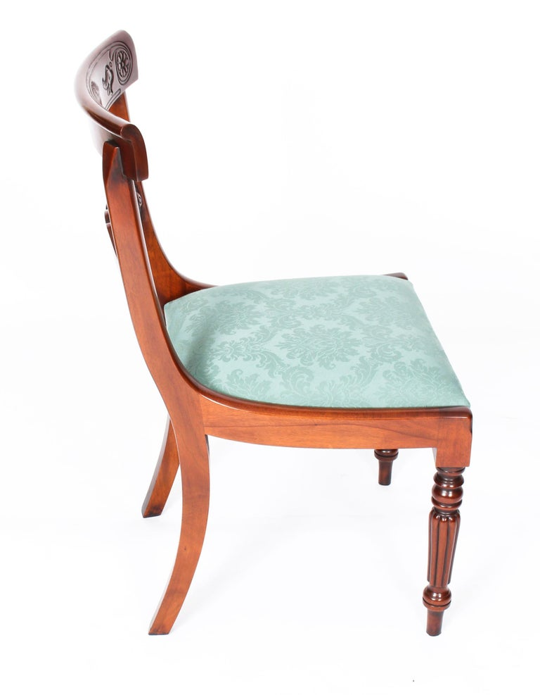 Vintage Set 14 Mahogany Regency Revival Bar Back Dining Chairs 20th C For Sale 10
