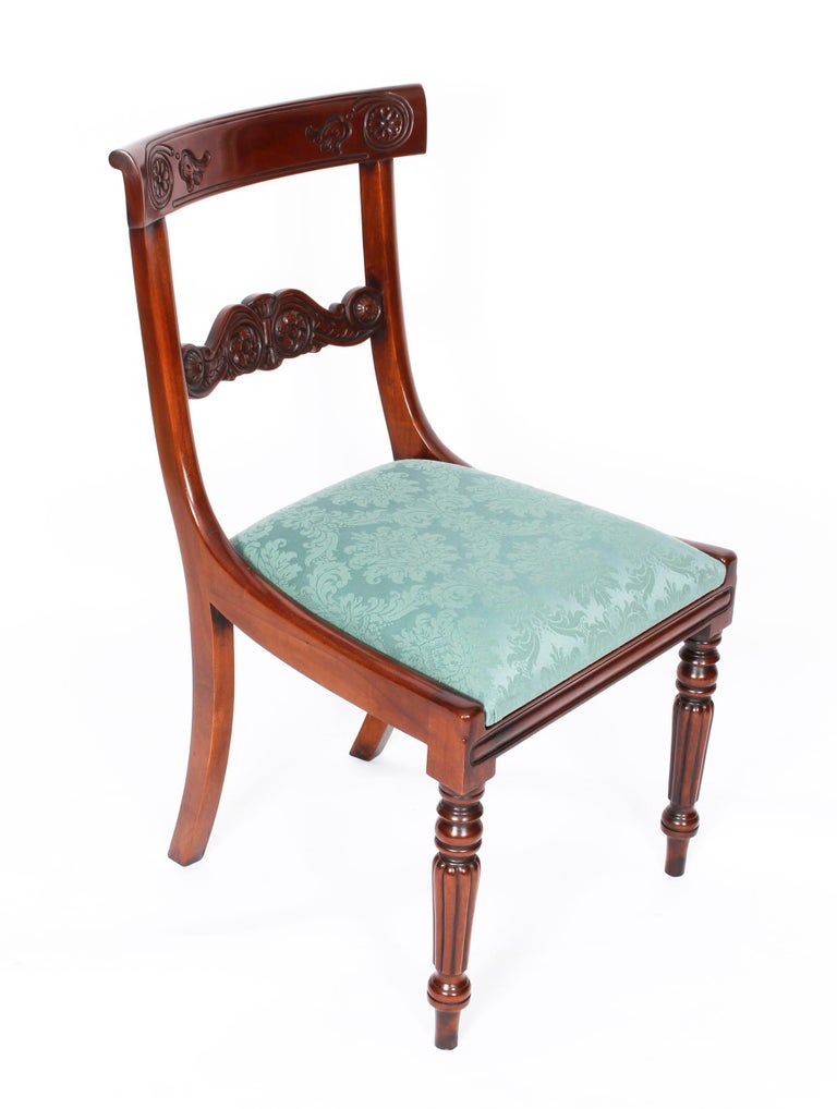 Vintage Set 14 Mahogany Regency Revival Bar Back Dining Chairs 20th C For Sale 11