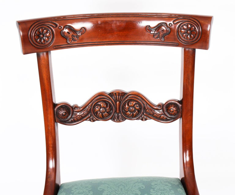Vintage Set 14 Mahogany Regency Revival Bar Back Dining Chairs 20th C For Sale 15
