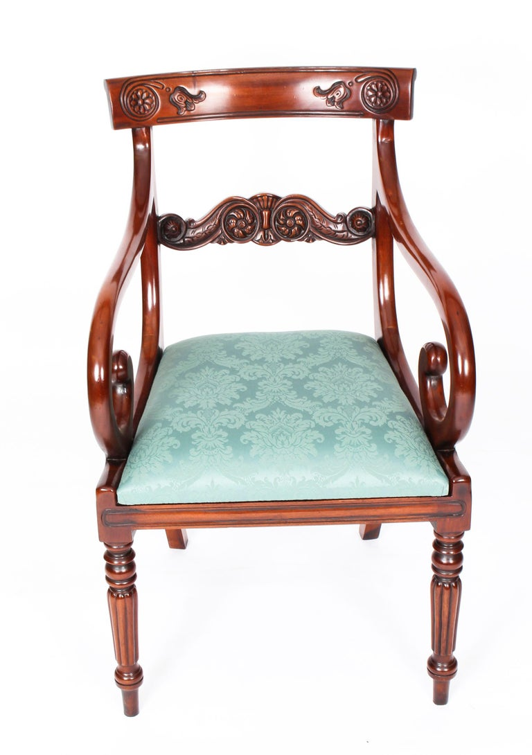 Late 20th Century Vintage Set 14 Mahogany Regency Revival Bar Back Dining Chairs 20th C For Sale