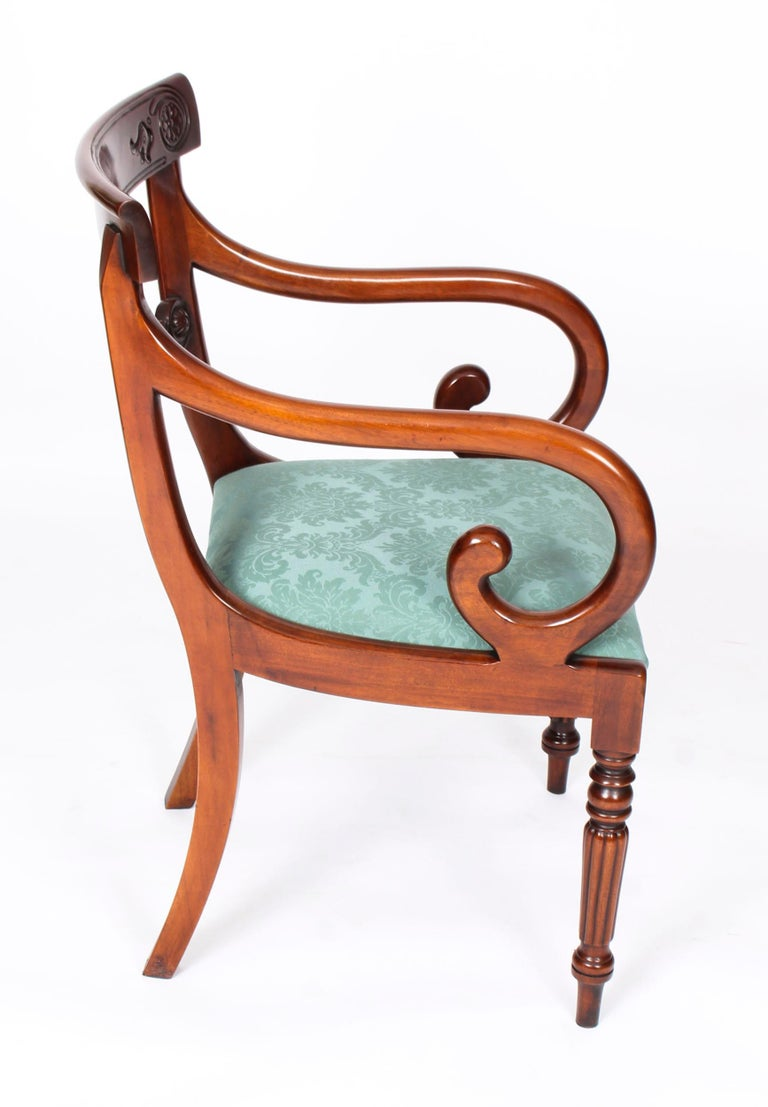 Vintage Set 14 Mahogany Regency Revival Bar Back Dining Chairs 20th C For Sale 1
