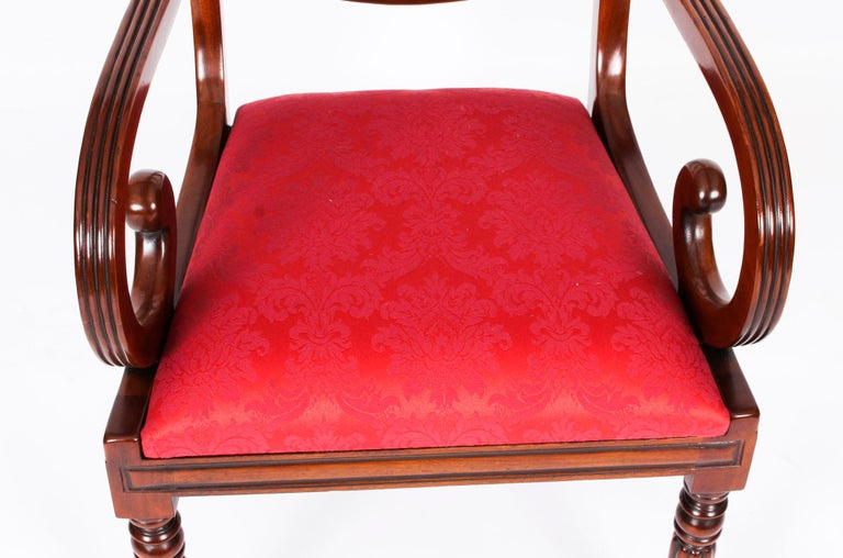 Vintage Set 14 Regency Revival Swag Back Dining Chairs, 20th Century For Sale 5
