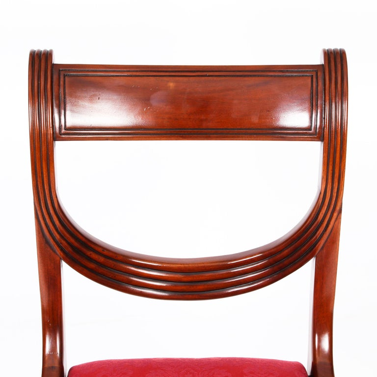 Vintage Set 14 Regency Revival Swag Back Dining Chairs, 20th Century For Sale 14