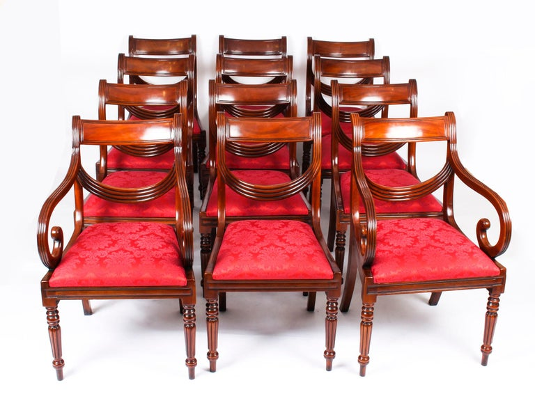 Vintage Set 14 Regency Revival Swag Back Dining Chairs, 20th Century For Sale 15