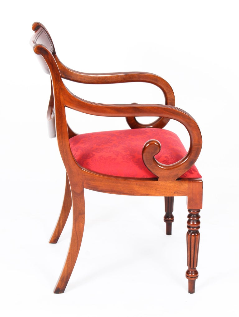 Late 20th Century Vintage Set 14 Regency Revival Swag Back Dining Chairs, 20th Century For Sale