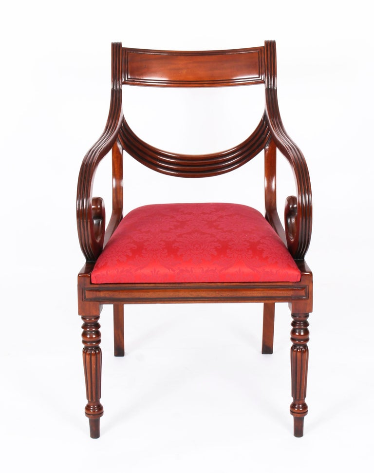 Mahogany Vintage Set 14 Regency Revival Swag Back Dining Chairs, 20th Century For Sale