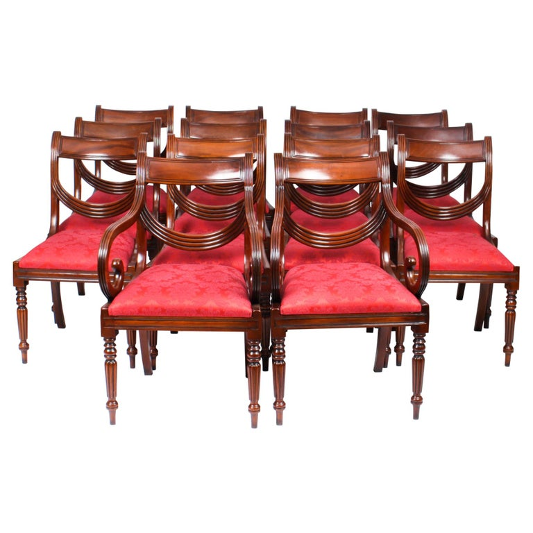 Vintage Set 14 Regency Revival Swag Back Dining Chairs, 20th Century For Sale