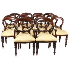 Vintage Set 14 Victorian Revival Balloon Back Dining Chairs, 20th Century