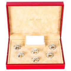 Vintage Set 6 Silver Plated Frogs Place Card Holders Saint Hilaire, 20th Century