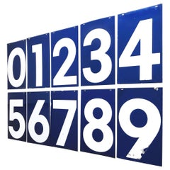 Vintage Set Gas Station Numbers, Midcentury, Blue & White, Shop Sign, Reclaimed