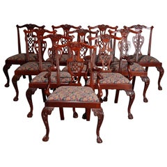 Vintage Set of 10 Chippendale Style Mahogany Dining Chairs, 20th Century