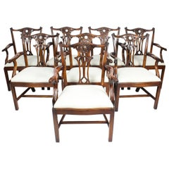 Vintage Set of 10 Mahogany Chippendale Revival Armchairs, 20th Century