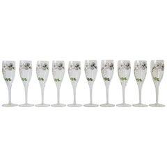 Vintage Perrier-Jouet French Champagne Flute Glasses Art Nouveau, Set of 10