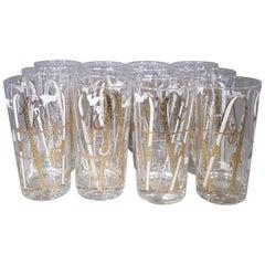 Vintage Set of 12 Culver Ski Theme Glasses with Gold Detail