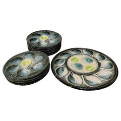 Vintage Set of 12 French Barbotine Faience Oyster Plates & Dish from St Clement