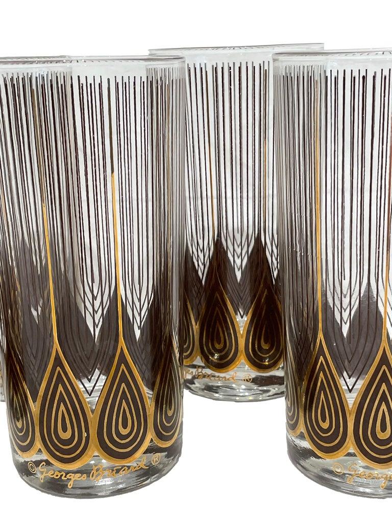 Mid-Century Modern Vintage Set of 12 George Briard Highball Glasses For Sale