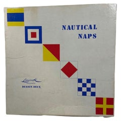 Vintage Set of 12 Linen Cocktail Napkins by Leacock in a Nautical Flag Pattern